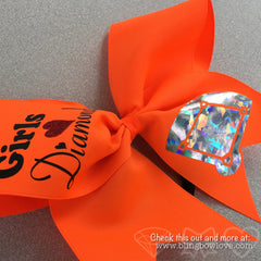 Softball Bow, Girls Love Diamonds Neon Orange - Bling Bow Love - 2