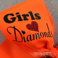 Softball Bow, Girls Love Diamonds Neon Orange - Bling Bow Love - 3