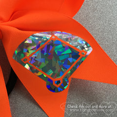 Softball Bow, Girls Love Diamonds Neon Orange - Bling Bow Love - 4