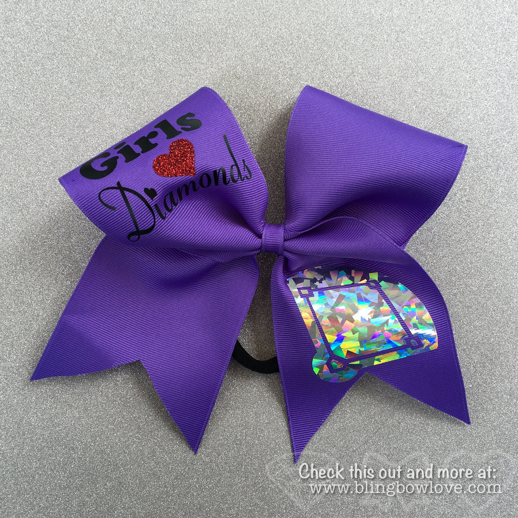Girls Love Diamonds - Softball Bow - Purple - Bling Bow Love - 1