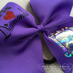 Girls Love Diamonds - Softball Bow - Purple - Bling Bow Love - 2
