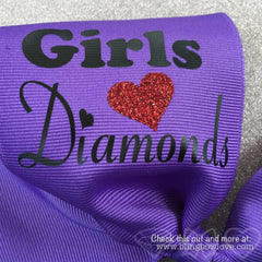 Girls Love Diamonds - Softball Bow - Purple - Bling Bow Love - 3