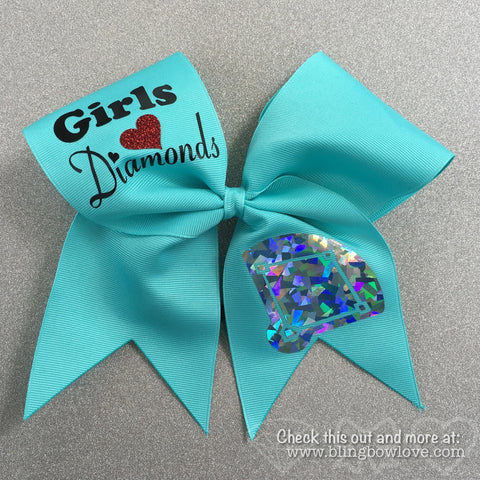 Girls Love Diamonds - Softball Bow - Robin's Egg Blue - Bling Bow Love - 1
