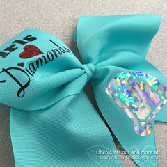 Girls Love Diamonds - Softball Bow - Robin's Egg Blue - Bling Bow Love - 2