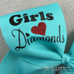 Girls Love Diamonds - Softball Bow - Robin's Egg Blue - Bling Bow Love - 3