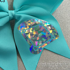Girls Love Diamonds - Softball Bow - Robin's Egg Blue - Bling Bow Love - 4