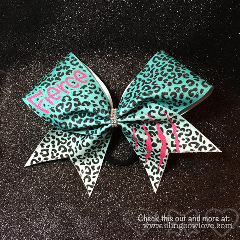 Fierce Bow - Teal and Pink - Bling Bow Love - 1