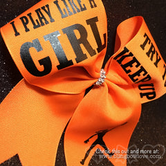 Play like a girl bow, Basketball Bow, Try to Keep Up, Jumpgirl bow - Bling Bow Love - 2