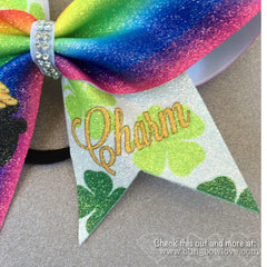 Lucky Charm Bow, Glitter Bow, Cheer Bow - Bling Bow Love - 3