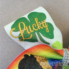 Lucky Charm Bow, Glitter Bow, Cheer Bow - Bling Bow Love - 4