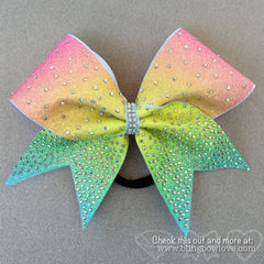 Spring Bling Bow, Rainbow Cheer Bow, Rhinestone Cheer Bow - Bling Bow Love - 1