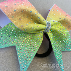 Spring Bling Bow, Rainbow Cheer Bow, Rhinestone Cheer Bow - Bling Bow Love - 2