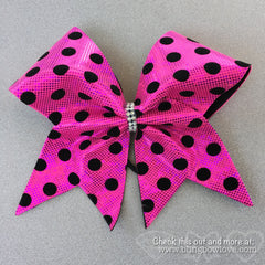 Pink Polka Dot Bow, Cheer Bow - Bling Bow Love - 1