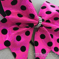 Pink Polka Dot Bow, Cheer Bow - Bling Bow Love - 2