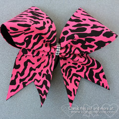 Pink Leopard Bow, Cheer Bow, Cheetah Bow - Bling Bow Love - 1
