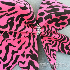 Pink Leopard Bow, Cheer Bow, Cheetah Bow - Bling Bow Love - 2