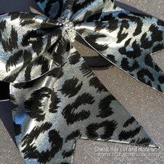 Silver Leopard Bow, Cheer Bow, Cheetah Bow - Bling Bow Love - 3