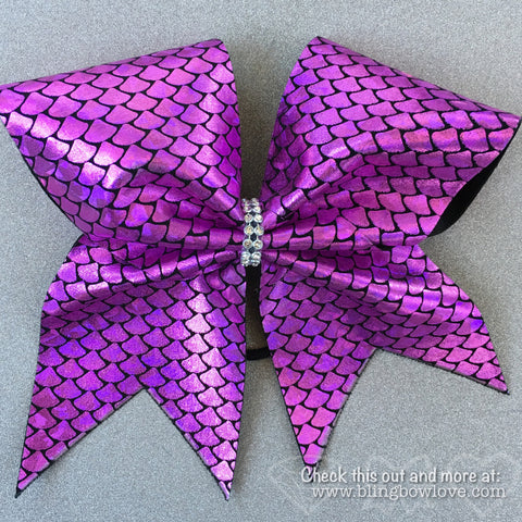 Pink Mermaid Bow, Cheer Bow - Bling Bow Love - 1