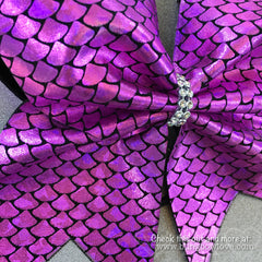 Pink Mermaid Bow, Cheer Bow - Bling Bow Love - 2