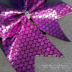 Pink Mermaid Bow, Cheer Bow - Bling Bow Love - 3