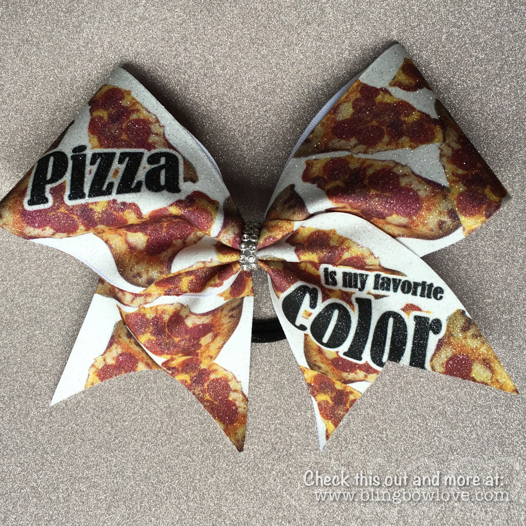 Pizza is my Favorite Color Bow, Pizza Cheer Bow, glitter bow - Bling Bow Love