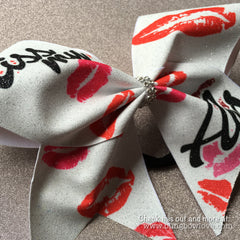 Kiss my Abs Cheer Bow, Glitter Cheerleading Bow, Big Cheer Bows - Bling Bow Love - 2
