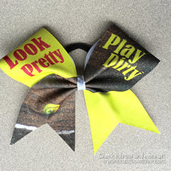 Look Pretty, Play Dirty Softball Bow - Bling Bow Love - 1