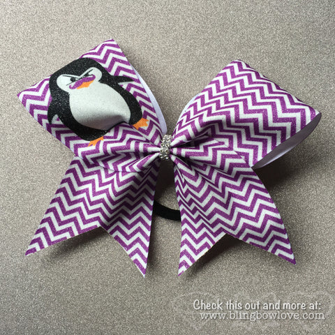Penguin with Attitude Bow, Cheer Bow, Chevron Bow - Bling Bow Love