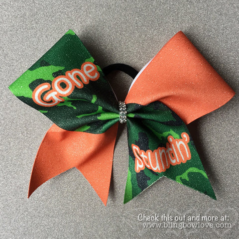 Gone Stuntin Bow, Cheer Bow, Camo Bow - Bling Bow Love - 1