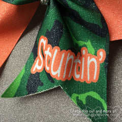 Gone Stuntin Bow, Cheer Bow, Camo Bow - Bling Bow Love - 3