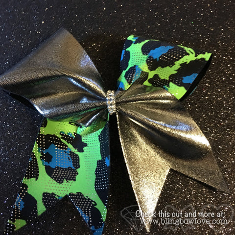 Blue Green Silver Cheer Bow - Bling Bow Love - 1