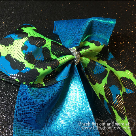 Blue Green Cheer Bow - Bling Bow Love