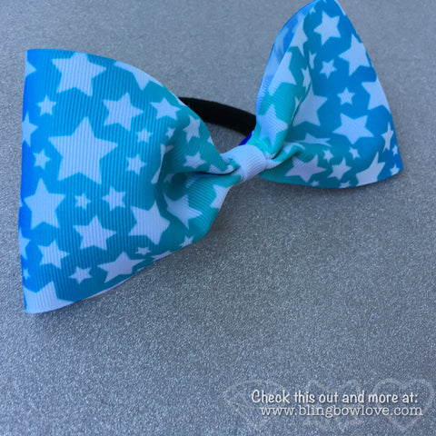 Blue ombré with white stars tailless cheer bow - Bling Bow Love