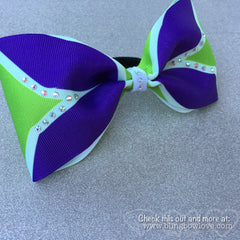 Tailless purple and green cheer bow - Bling Bow Love - 4