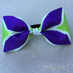 Tailless purple and green cheer bow - Bling Bow Love - 2