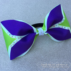 Tailless purple and green cheer bow - Bling Bow Love - 1