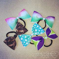Tailless purple and green cheer bow - Bling Bow Love - 3