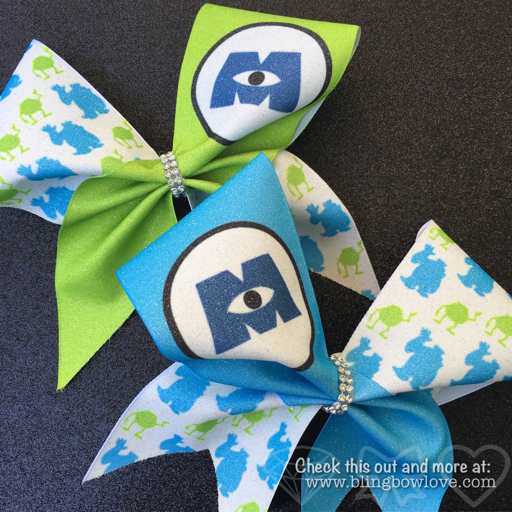 Monster BFF Cheer Bows Set // Monster Bows // Green Cheer Bow // Blue Cheer Bow - Bling Bow Love - 1