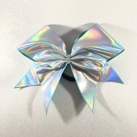 Holographic Silver Cheer Bow - Bling Bow Love - 1