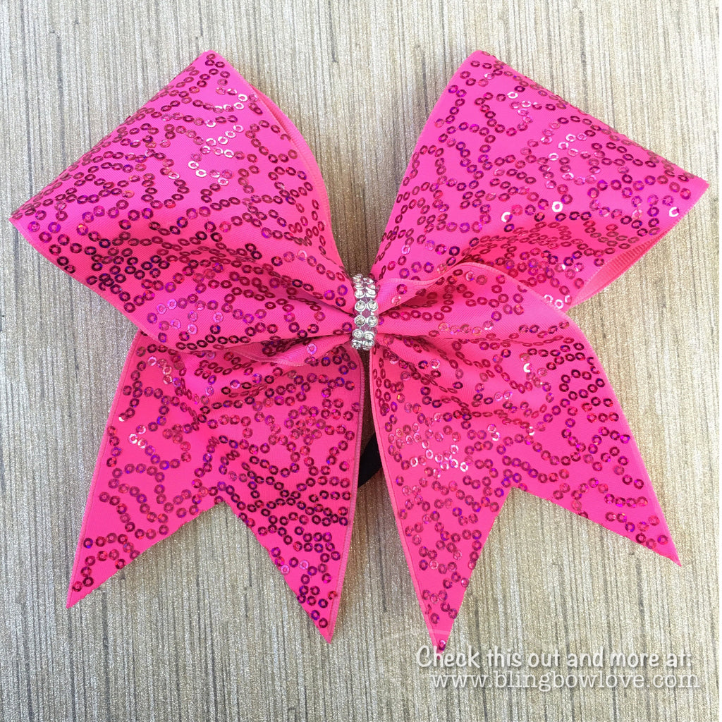 Pink Sequin Cheer Bow - Bling Bow Love