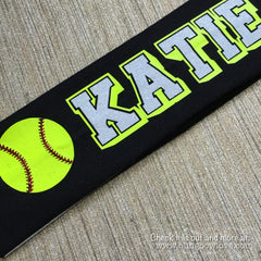 Softball Headband - Customize with name or team name - Bling Bow Love - 1