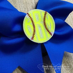 Softball Monogram 3D Center Bow - Bling Bow Love - 3