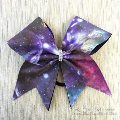 Galaxy Print Cheer Bow - Bling Bow Love - 1