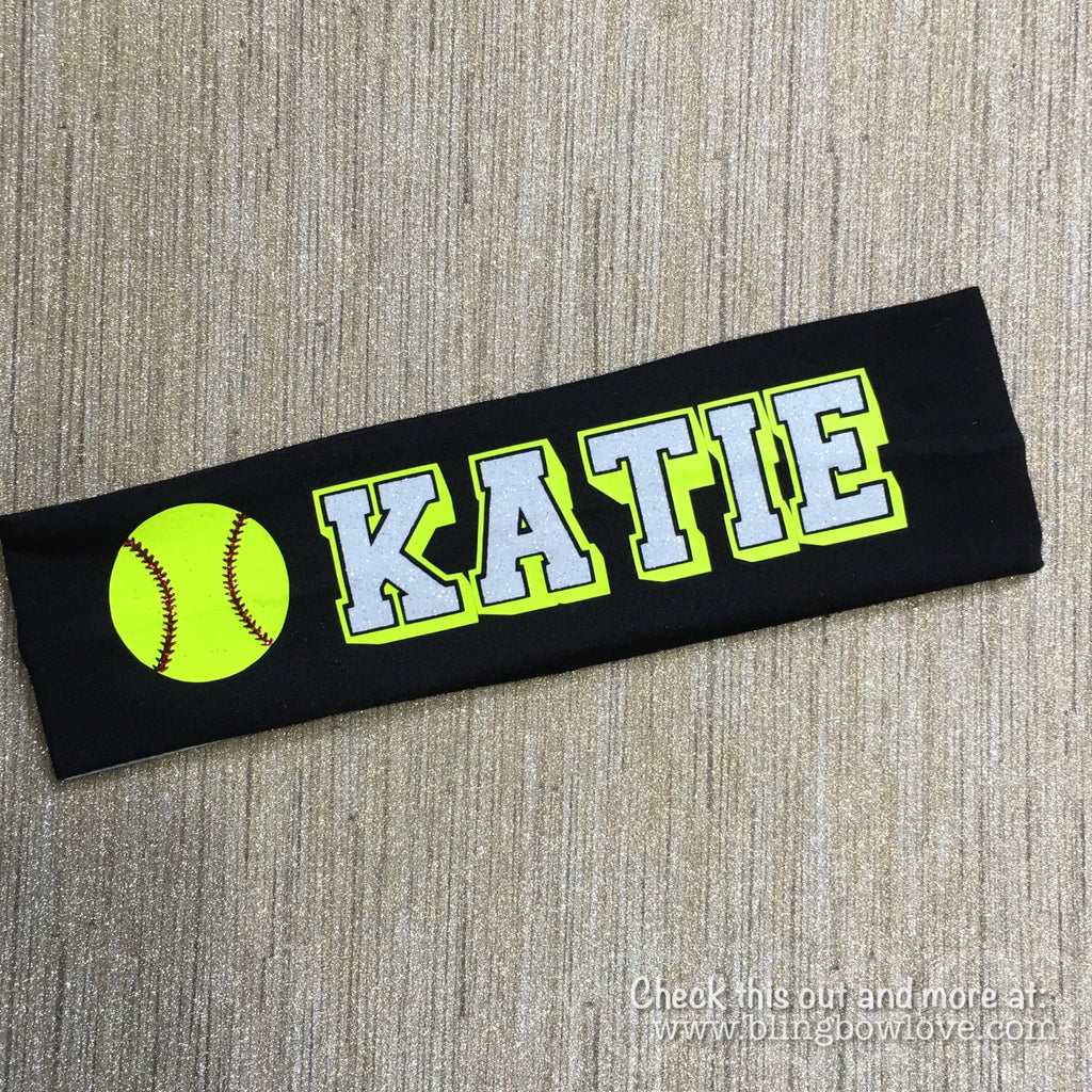 ... Softball Headband - Customize with name or team name - Bling Bow Love -  2 ... cdc6339e8a7