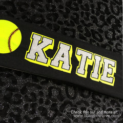 Softball Headband - Customize with name or team name - Bling Bow Love - 3
