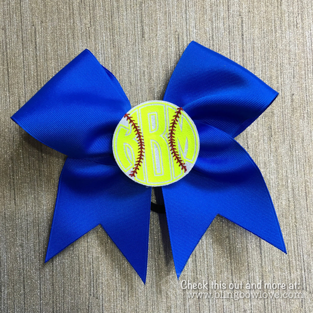 Softball Monogram 3D Center Bow - Bling Bow Love - 1