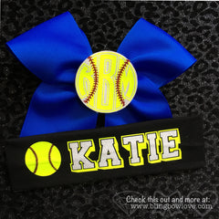 Softball Monogram 3D Center Bow - Bling Bow Love - 4