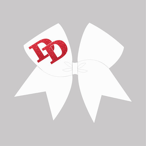 White Grosgrain Bow with Red Glitter DD