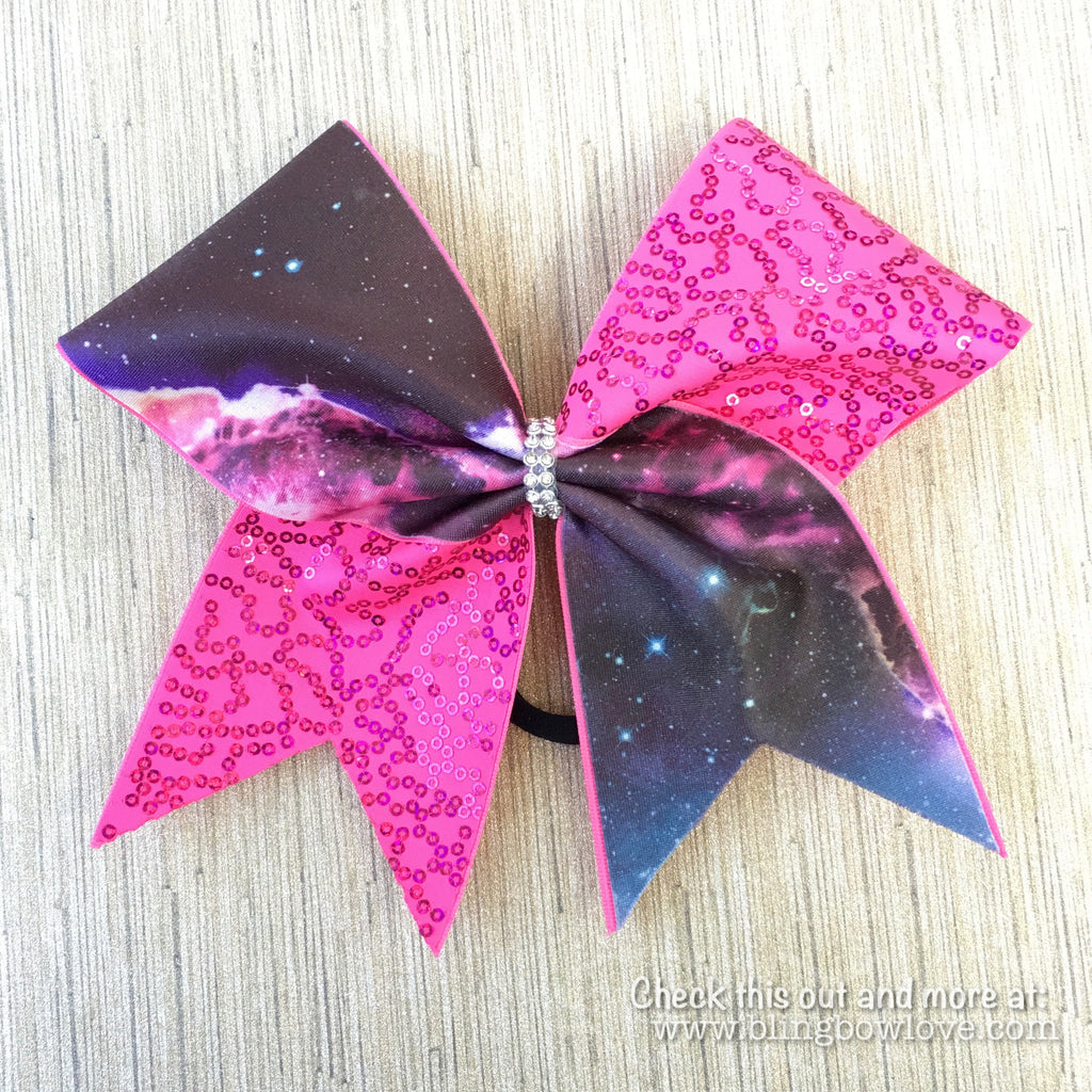 Galaxy Print and Pink Sequin Cheer Bow - Bling Bow Love - 1