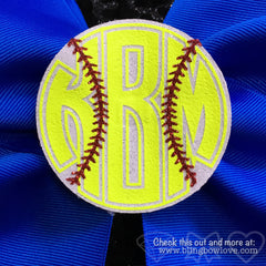 Softball Monogram 3D Center Bow - Bling Bow Love - 2